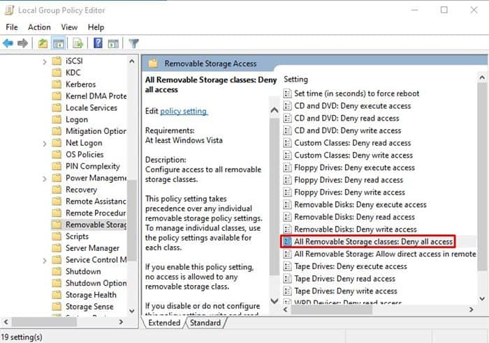 search for the option 'All Removable Storage Classes: Deny all access'
