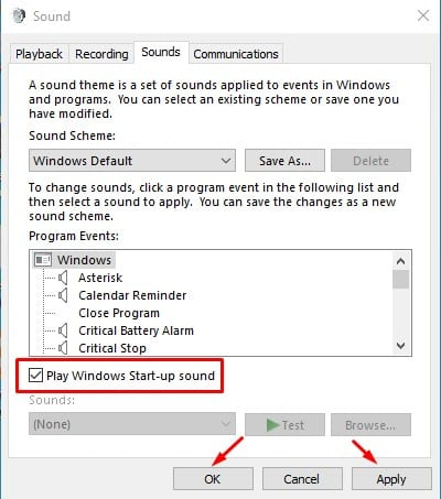 enable the 'Play Windows Startup Sound' option