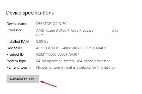 click on the 'Rename this PC' option