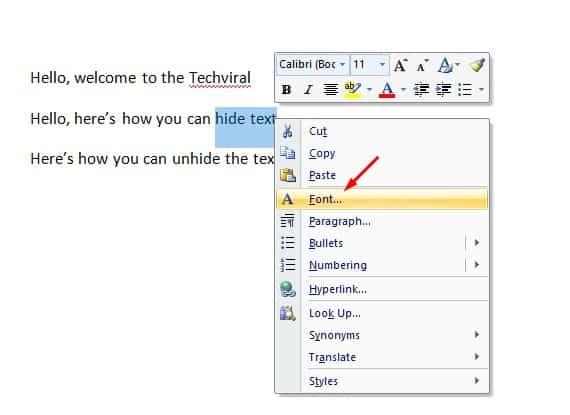 choose the option 'Font'