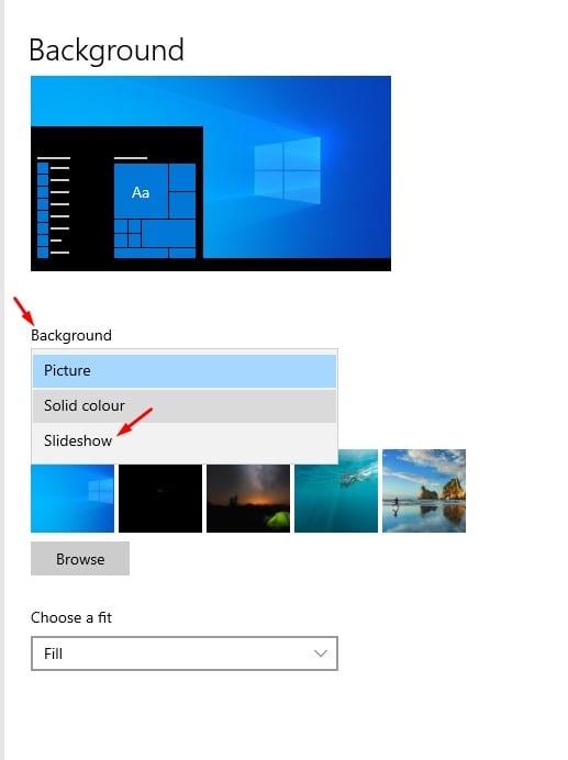 select 'Slideshow.'