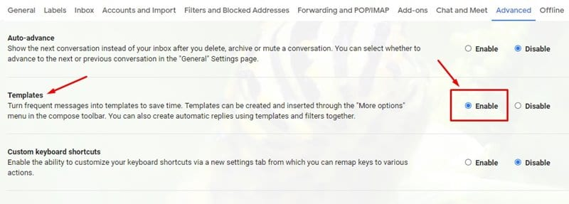 enable the 'Templates' option