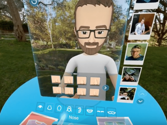 Customizing your Facebook Spaces avatar standing in front of a VR mirror