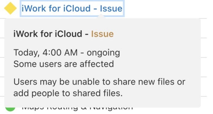 iWork for iCloud and iCloud Notes Experiencing Sharing Outage