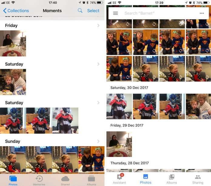 Apple Photos vs Google Photos: Organisation & interface