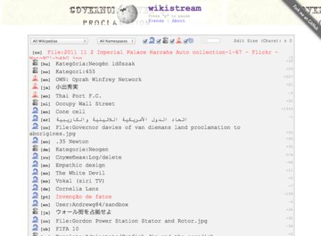 「wikistream」世界中のWikipediaから編集情報を中継するよ【増田(@maskin)真樹】