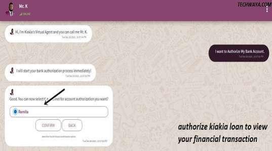 authorize kiakia loan to view your financial transaction