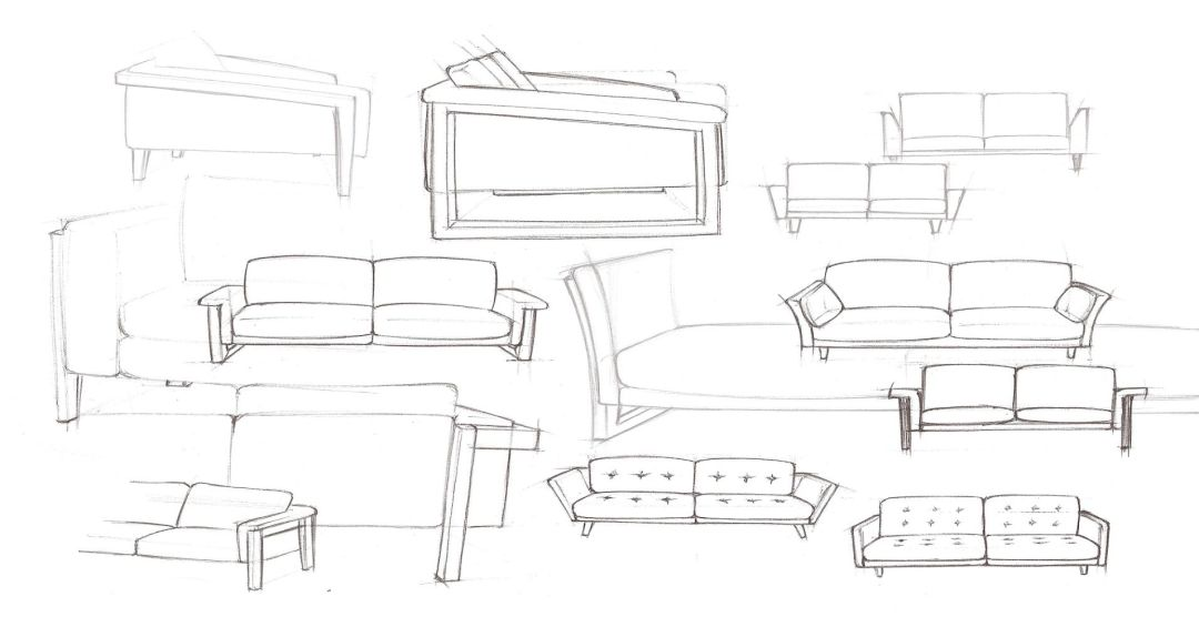 Sketch of couch in a box prototypes