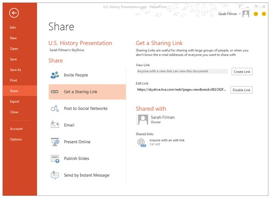 sharing link in Skydrive