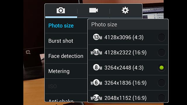 Galaxy S 4 Camera resolution