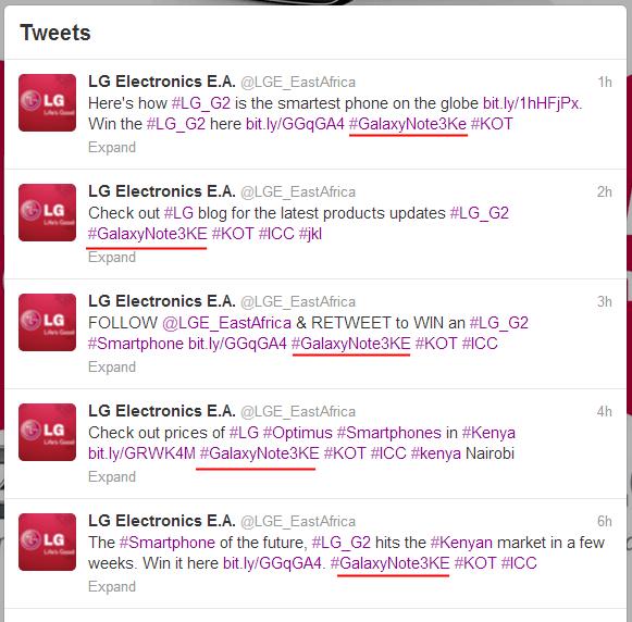 LG Electronics E.A.  LGE_EastAfrica  on Twitter - Marketing Bluff GalaxyNote3Ke