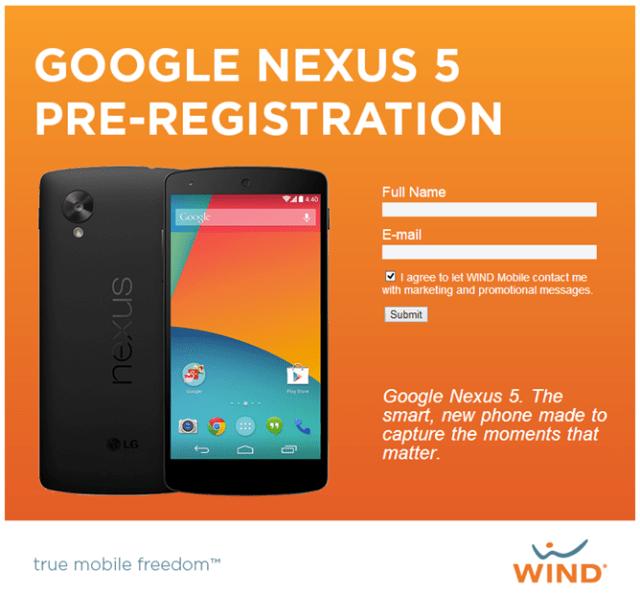 Nexus 5 Wind Canada