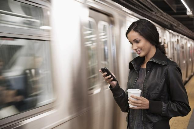 Smartphone on a train