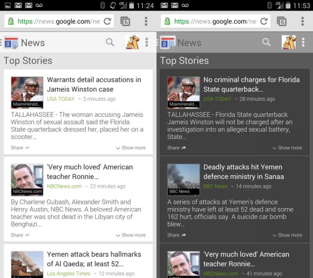 Google news mobile website new