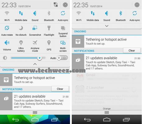 Ascend P7 notifications area