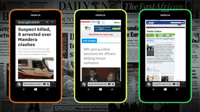 News Websites rendered on Windows Phone.