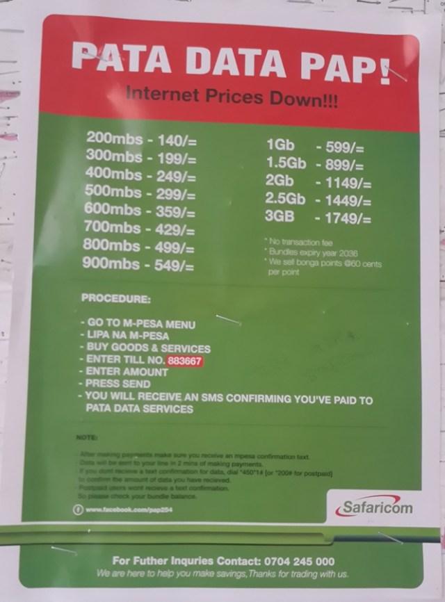 A bundles mwitu poster in Tudor, Mombasa. Look at those rates.