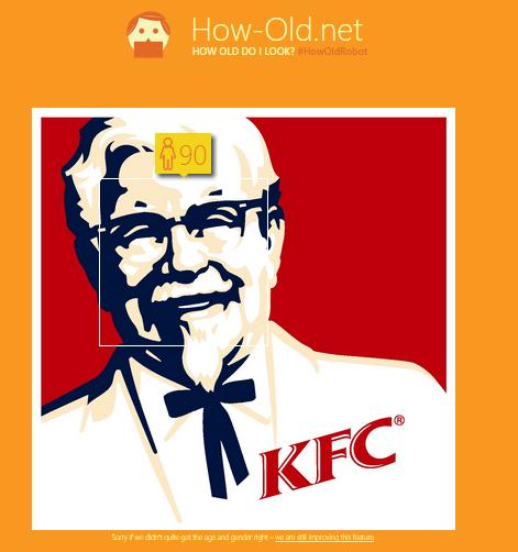 kfc colonel sanders how-old.net demo - techweez