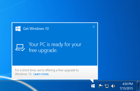 You'll get a similar prompt once Windows 10 has been downloaded on your PC and is ready to install