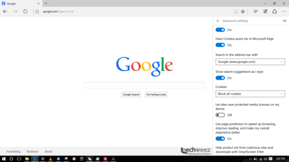 setting google as default search engine on microsoft edge