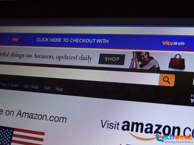 Blue belt at that pops up when you are on Amazon
