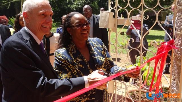 U.S Ambassador to Kenya, Mr. Godec and the CS, Public Service, Youth ad Gender Affairs, Mrs. Sicily Kariuki cutting the ribbon