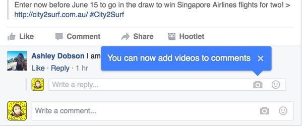 adding videos to comments on Facebook