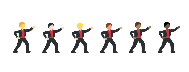 Man dancing in various skin tones  via Emojipedia