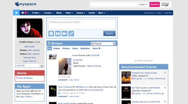 old myspace ui
