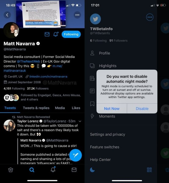 Twitter dark night mode