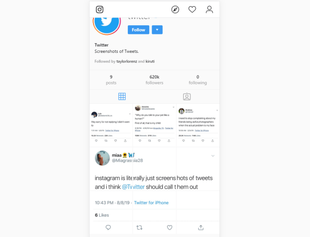 Twitter Mocks Instagram by Using Screenshots of Tweets to
