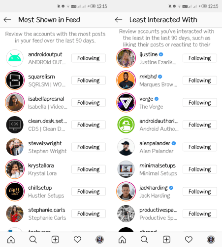 Instagram Unfollow Suggestions