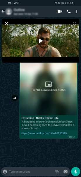 WhatsApp Picture-in-Picture Player Netflix