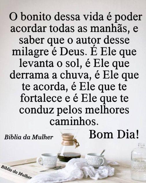Bom dia! é DEUS quem faz milagre
