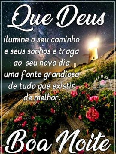 Feliz noite iluminada por Deus