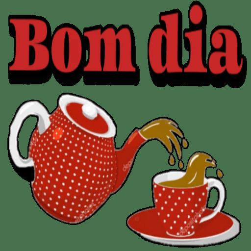 Figurinhas fofas de Bom dia bule e café