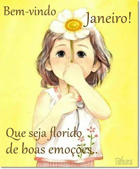 Bem-vindo Janeiro com flores