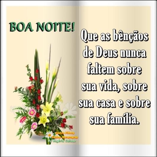 Boa noite com flores - mensagens