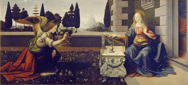 Pintura anunciação de Leonardo da Vinci