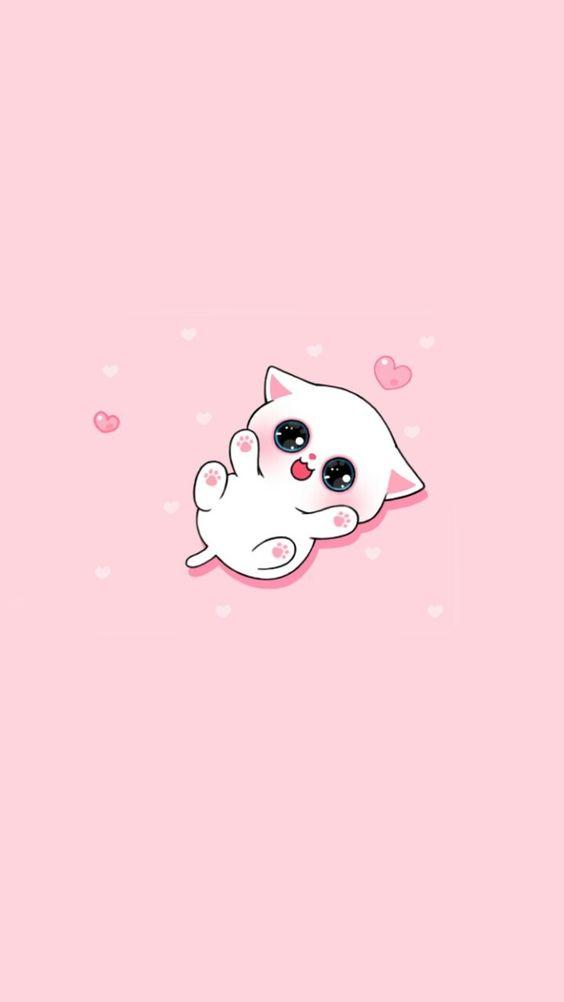 Papel de parede rosa com gatinha