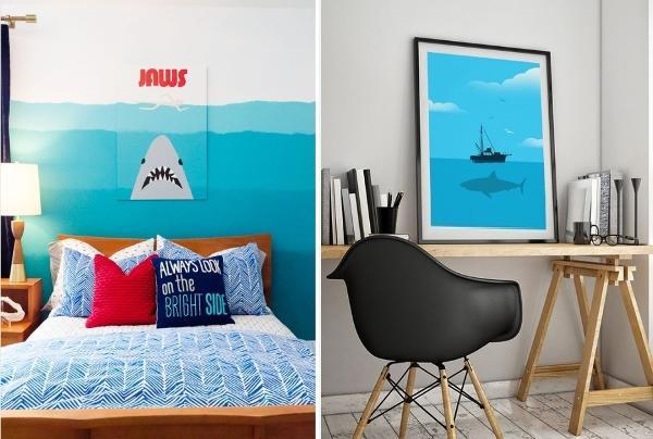 Decoração de quarto tem ''JAWS''.