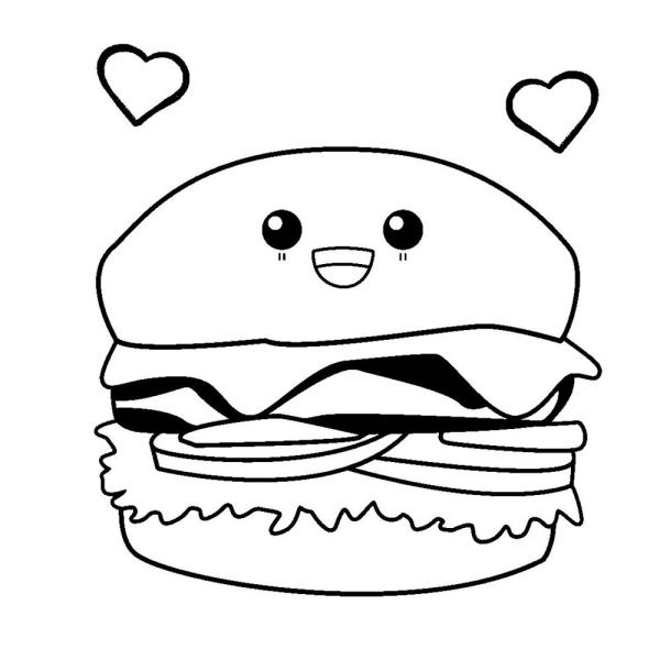 desenho para desenhar um hambúrguer fofo.