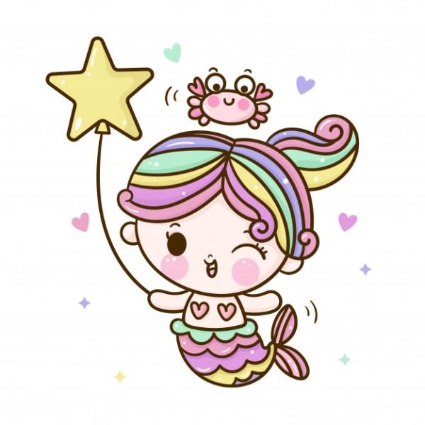 Desenho da mini sereia linda.