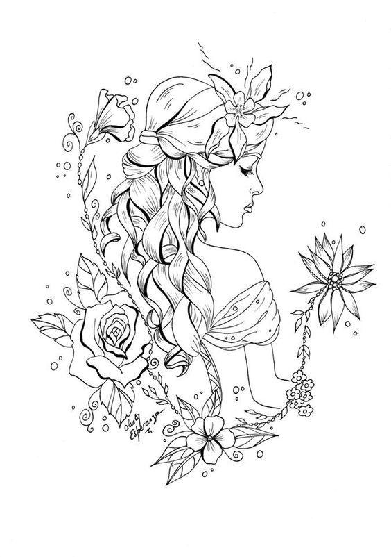 Desenho tumblr menina com flores lindas.