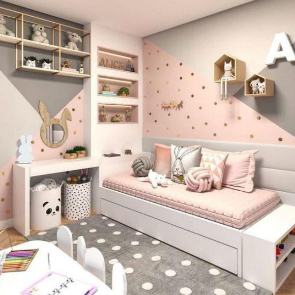 Decoração de quarto de menina.