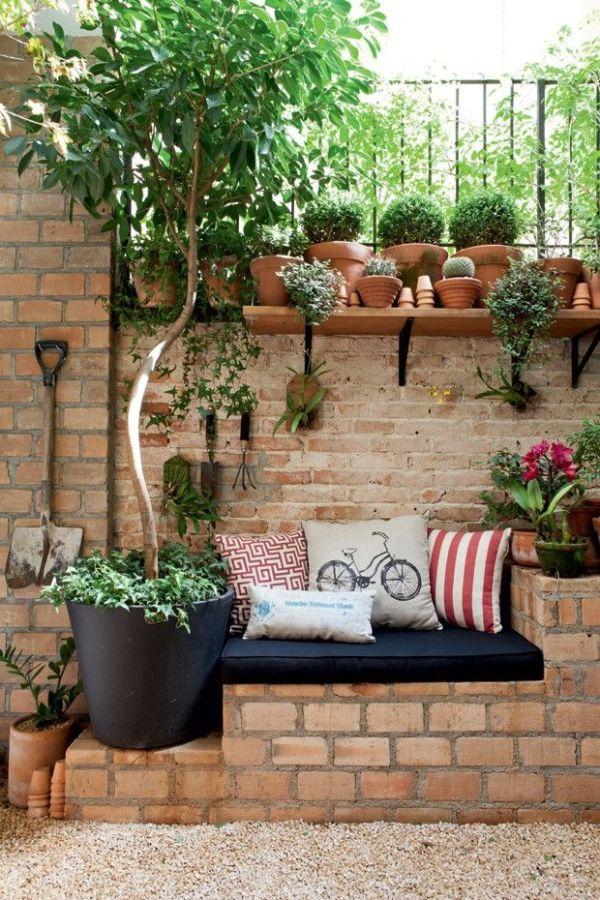cantinho da decoração de jardim