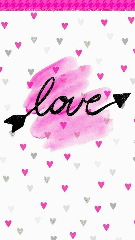 Papel de parede love rosa.