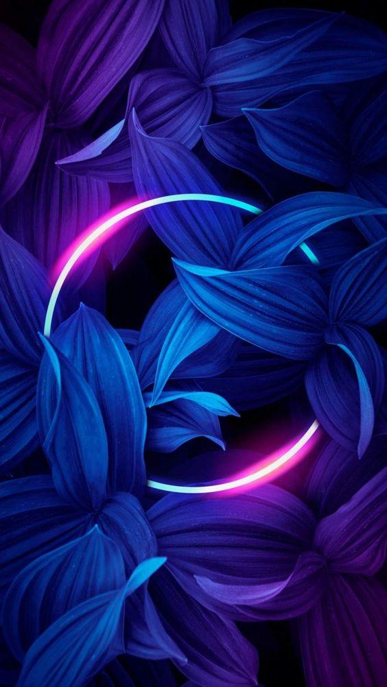 Papel de parede circulo neon