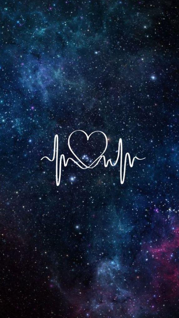 papel de parede galáxia com coração