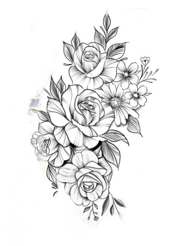 desenho de flores rosas